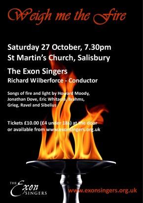 Next concert: Weigh me the fire - 27 October 2012,7.30pm, St Martin's Church, Salisbury